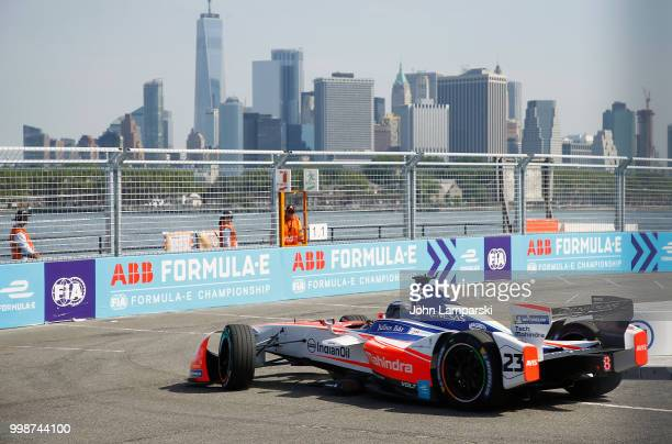 Mahindra racing team driven by Nick Heidfeld on track during qualifying portion of the Formula E New York City Race on July 14, 2018 in New York City.