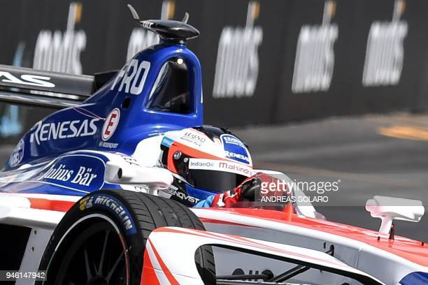 Mahindra racing team Formula E driver Sweden's Felix Rosenqvist steers his car during a qualifying session prior to the Rome leg of the Formula E...