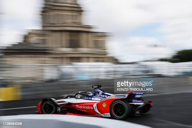 Mahindra Racing's belgium driver Jerome d'Ambrosio steers his car during the practice session of the ParisPrix leg of the Formula E season 20182019...