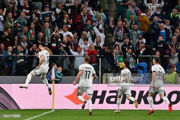 Mahir Emreli of Legia Warsaw celebrates after scoring their sides first goal during the UEFA Europa League group C match between Legia Warszawa and...