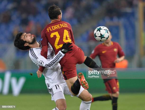 Mahir Madatov and Alessandro Florenzi during the Champions League football match AS Roma vs Qarabag at the Olympic Stadium in Rome on december 05 2017