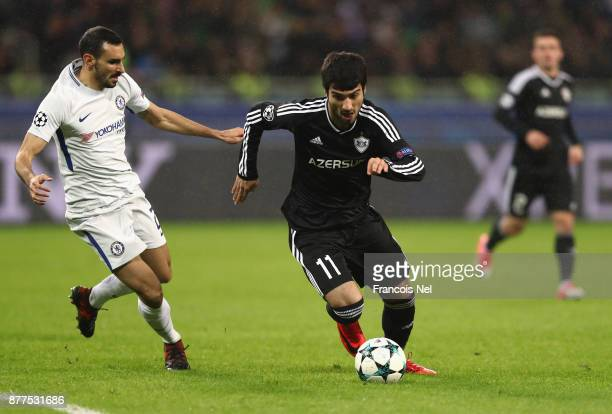 Mahir Madatov of Qarabag FK and Davide Zappacosta of Chelsea battle for posession during the UEFA Champions League group C match between Qarabag FK...