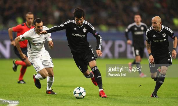Mahir Madatov of Qarabag FK in action during the UEFA Champions League group C match between Qarabag FK and Chelsea FC at Baki Olimpiya Stadionu on...