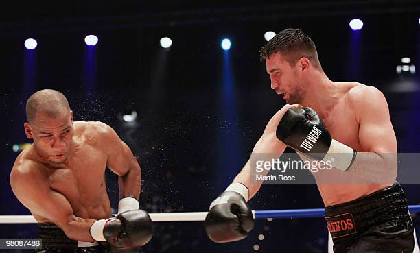 Mahir Oral of Germany fights Juan Novoa of Colombia during the middleweight WBA international championship fight during the ran boxen knockout Night...