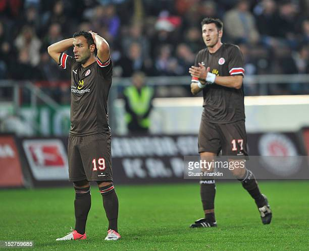 Mahir Saglik and Fabian Boll of St Pauli look dejected during the Second Bundesliga match between FC St Pauli and VfR Aalen at Millerntor Stadium on...