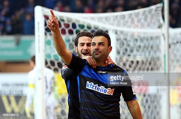 Mahir Saglik of Paderborn celebrates after scoring his team's 2nd goal during the Bundesliga match between SC Paderborn and Borussia Dortmund at...