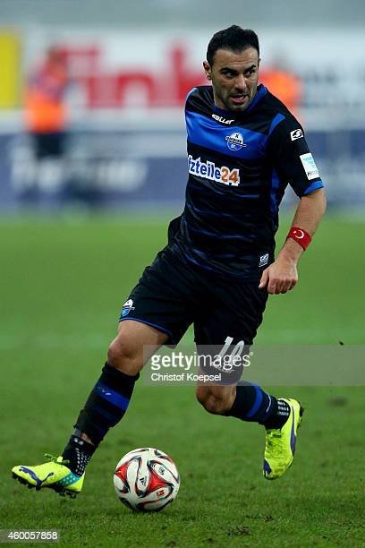 Mahir Saglik of Paderborn runs with the ball during the Bundesliga match between SC Paderborn and SC Freiburg at Benteler Arena on December 6 2014 in...