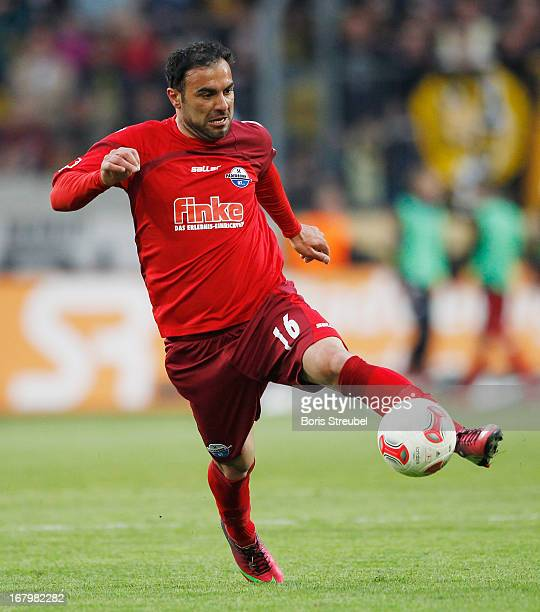 Mahir Saglik of Paderborn runs with the ball during the Second Bundesliga match between SG Dynamo Dresden and SC Paderborn 07 at GluecksgasStadion on...