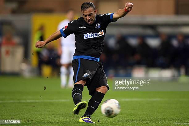 Mahir Saglik of Paderborn scores the first goal during the Second Bundesliga match between SC Paderborn and FSV Frankfurt at Benteler Arena on...