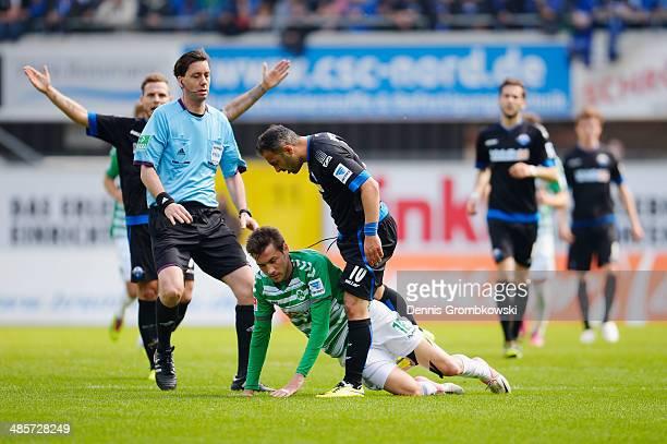 Mahir Saglik of SC Paderborn and Goran Sukalo of Greuther Fuerth argue during the Second Bundesliga match between SC Paderborn and Greuther Fuerth at...