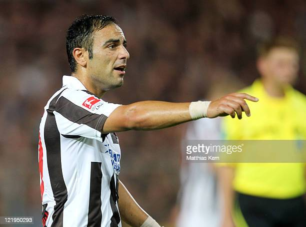Mahir Saglik of St Pauli looks on during the Second Bundesliga match between FC St Pauli and MSV Duisburg at Millerntor Stadium on August 22 2011 in...