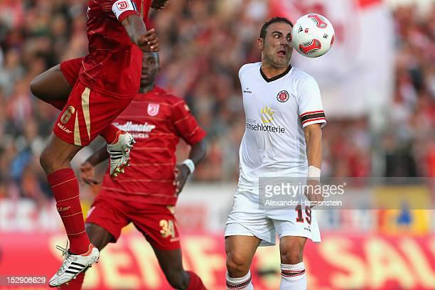 Mahir Saglik of St Pauli watches the ball during the Second Bundesliga match between Jahn Regensburg and FC St Pauli at Jahnstadion on September 28...