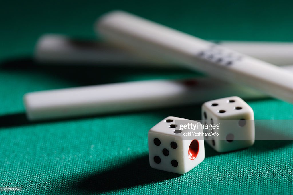 Mahjong chips and die : Stock Photo