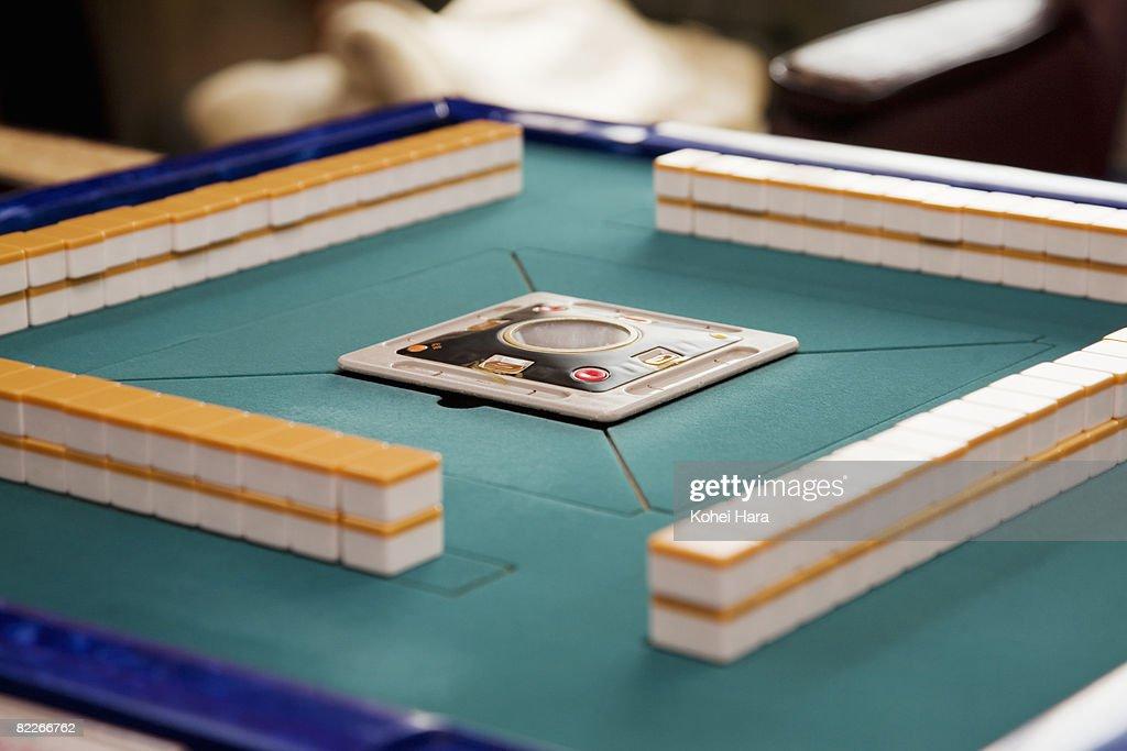 mahjong tiles on table : Stock Photo