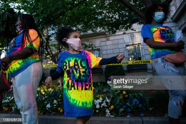 Mahkhyieah Lee dances following the verdict of the Derek Chauvin trial at Black Lives Matter Plaza near the White House on April 20, 2021 in...