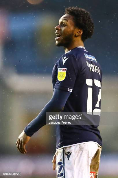 Mahlon Romeo of Millwall FC shouting to his team mates during the Sky Bet Championship match between Millwall and Sheffield Wednesday at The Den on...
