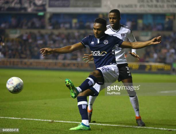 Mahlon Romeo of Millwall holds of Fulham's Ryan Sessegnon during Championship match between Millwall against Fulham at The Den stadium London England...
