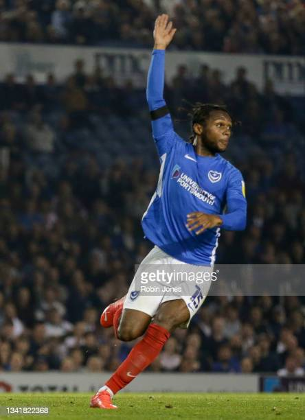 Mahlon Romeo of Portsmouth FC during the Sky Bet League One match between Portsmouth and Plymouth Argyle at Fratton Park on September 21, 2021 in...