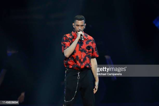Mahmood from Italy performs live on stage during the 64th annual Eurovision Song Contest held at Tel Aviv Fairgrounds on May 17 2019 in Tel Aviv...