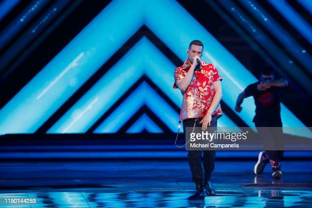 Mahmood representing Italy performs live on stage during the 64th annual Eurovision Song Contest held at Tel Aviv Fairgrounds on May 18 2019 in Tel...