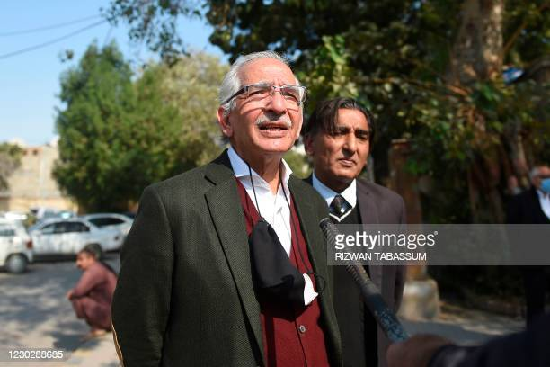 Mahmood Sheikh , lawyer of British-born militant Ahmed Omar Saeed Sheikh, speaks to media representatives after the high court ordered to release...