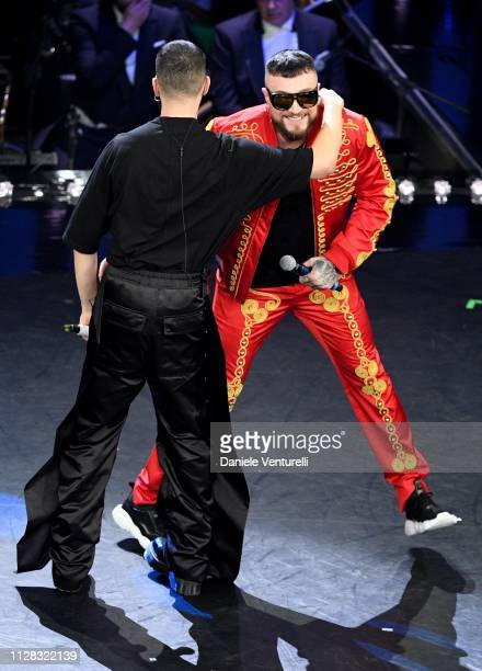 Mahmood with Gue Pequeno on stage during the fourth night of the 69th Sanremo Music Festival at Teatro Ariston on February 08 2019 in Sanremo Italy