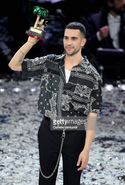 Mahmood with his winner's award on stage during the closing night of the 69th Sanremo Music Festival at Teatro Ariston on February 09 2019 in Sanremo...