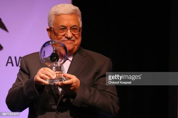 Mahmoud Abbas president of Palestina presents the hope of peace award during the Steiger Award on at Coal Mine Hansemann Alte Kaue March 25 2017 in...
