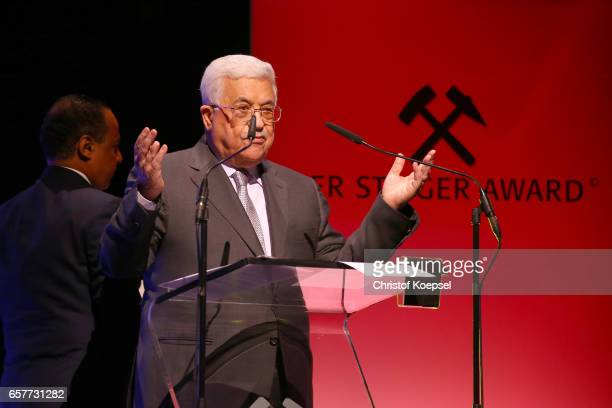 Mahmoud Abbas president of Palestina speaks after winning the hope of peace award during the Steiger Award on at Coal Mine Hansemann Alte Kaue March...