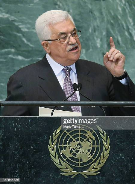 Mahmoud Abbas President of the Palestinian Authority addresses the United Nations General Assembly on September 27 2012 in New York City The 67th...