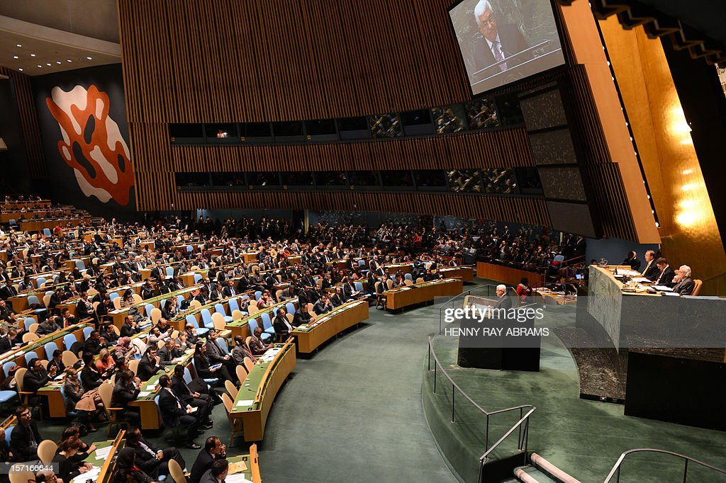 Mahmoud Abbas, President of the Palestinian Authority, speaks to the United Nations General Assembly before the body votes on a resolution to upgrade the status of the Palestinian Authority to a nonmember observer state November 29, 2012 at UN headquarters in New York. AFP PHOTO/Henny Ray Abrams