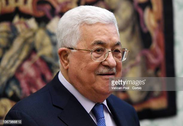 Mahmoud Abbas the President of the State of Palestine and the Palestinian National Authority arrives to meet Pope Francis on December 3 2018 in...