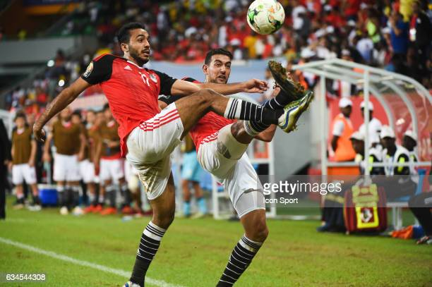 Mahmoud Abdelmonem Abdelhamid Soliman and Ahmed Hassan Mohamed Abdelmonem Mohamed Mahgoub of Egypt during the Quarter Final African Nations Cup match...