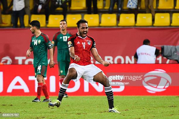 Mahmoud Abdelmonem Abdelhamid Soliman of Egypt after the victory during the Quarter Final African Nations Cup match between Morocco and Egypt on...
