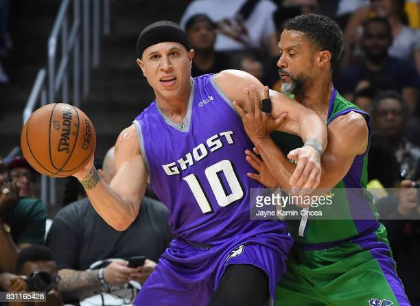 Mahmoud Abdul Rauf of the 3 Headed Monsters guards Mike Bibby of Ghost Ballers during the BIG3 game at Staples Center on August 13 2017 in Los...