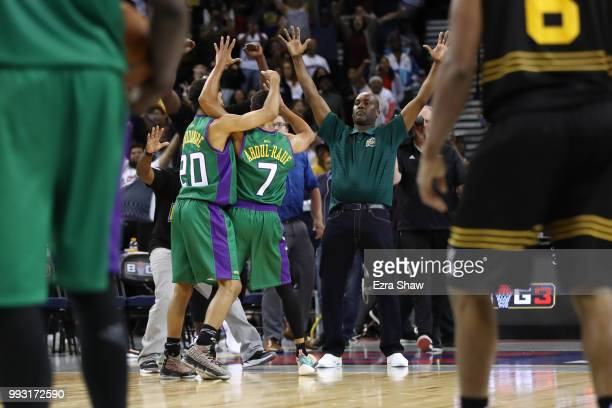 Mahmoud AbdulRauf of 3 Headed Monsters celebrates with his team after his game winning threepoint basket against Killer 3's during week three of the...