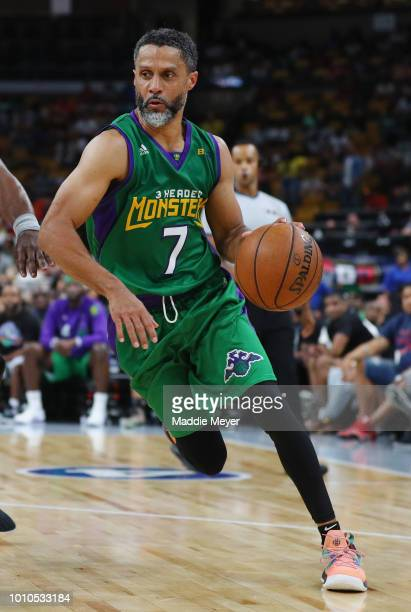 Mahmoud AbdulRauf of 3 Headed Monsters dribbles against Power during week seven of the BIG3 three on three basketball league at TD Garden on August 3...
