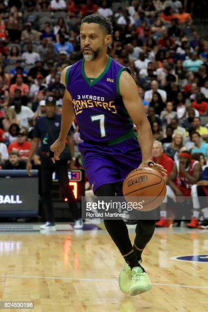 Mahmoud AbdulRauf of the 3 Headed Monsters dribbles the ball against TriState during week six of the BIG3 three on three basketball league at...