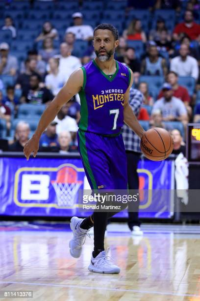 Mahmoud AbdulRauf of the 3 Headed Monsters dribbles the ball during the game against Power during week three of the BIG3 three on three basketball...