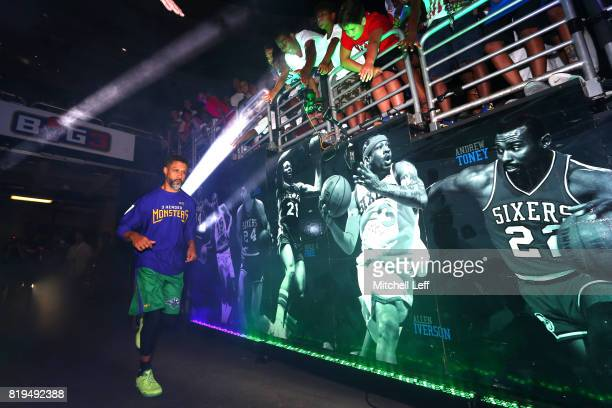 Mahmoud AbdulRauf of the 3 Headed Monsters is introduced before the game against the Killer 3s during week four of the BIG3 three on three basketball...