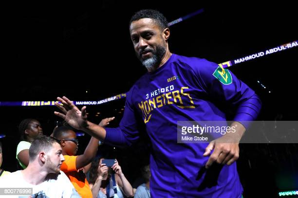 Mahmoud AbdulRauf of the 3 Headed Monsters is introduced during week one of the BIG3 three on three basketball league at Barclays Center on June 25...