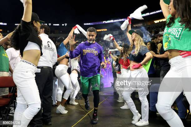 Mahmoud AbdulRauf of the 3 Headed Monsters runs onto the court for the game against the Power in week nine of the BIG3 threeonthree basketball league...