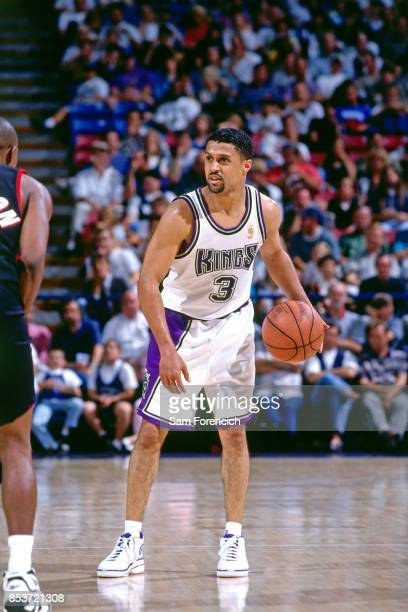 Mahmoud AbdulRauf of the Sacramento Kings dribbles circa 1997 at Arco Arena in Sacramento California NOTE TO USER User expressly acknowledges and...