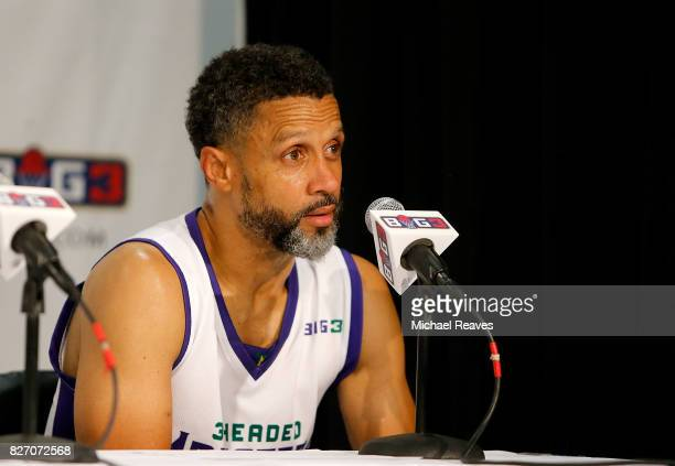 Mahmoud AbdulRauf takes questions during a press conference during week seven of the BIG3 three on three basketball league at Rupp Arena on August 6...