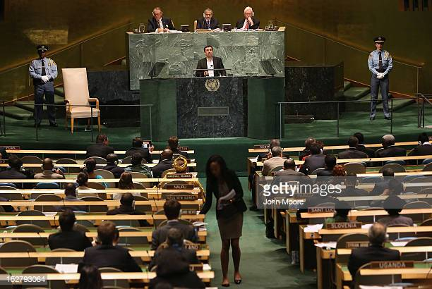 Mahmoud Ahmadinejad President of the Islamic Republic of Iran addresses the UN General Assembly on September 26 2012 in New York City The 67th annual...