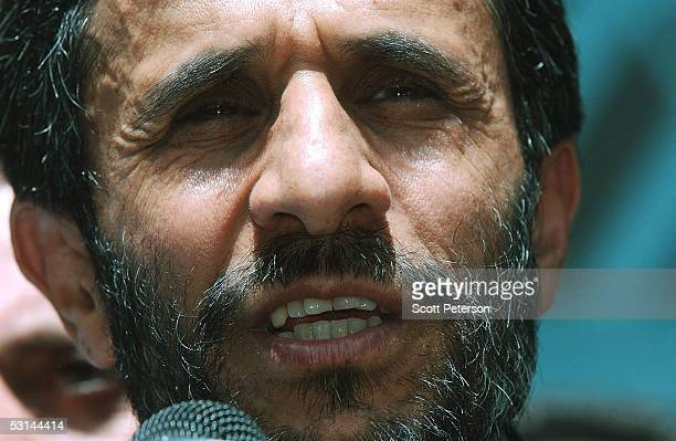 Mahmoud Ahmadinejad the ultraconservative mayor of Tehran who made it into a secondround presidential runoff vote speaks after voting June 24 2005 in...
