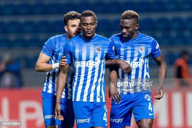 Mahmoud Ahmed Ibrahim Hassan of Kasimpasa AS Bernard Mensah of Kasimpasa AS Kenneth Josiah Omeruo of Kasimpasa AS during the Turkish Spor Toto Super...