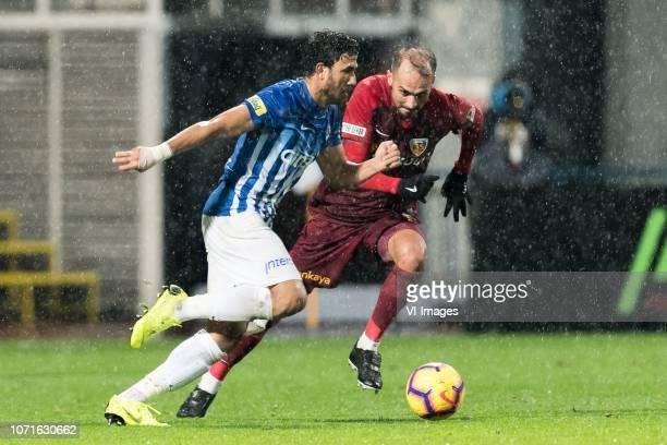Mahmoud Ahmed Ibrahim Trezeguet of Kasimpasa AS Samil Cinaz of Kayserispor during the Turkish Spor Toto Super Lig match between Kasimpasa AS and...