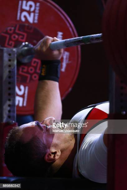 Mahmoud Attia of Egypt competes during the Men's Up to 65Kg Group A Category as part of the World Para Powerlifting Championships Mexico 2017 at Juan...