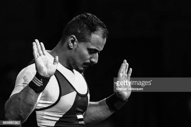 Mahmoud Attia of Egypt gestures during the Men's Up to 65Kg Group A Category as part of the World Para Powerlifting Championships Mexico 2017 at Juan...